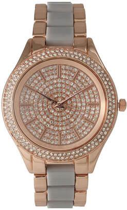 OLIVIA PRATT Olivia Pratt Womens Rhinestone Bezel Rhinestone Dial Rose Gray Two Tone Bracelet Watch 15295
