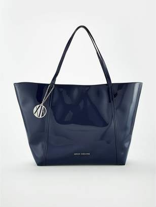 0844af58d6ca Armani Exchange Patent Pu Shopper Tote Bag - Navy