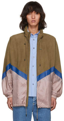 Fendi Brown Suede and Nylon Windbreaker Jacket