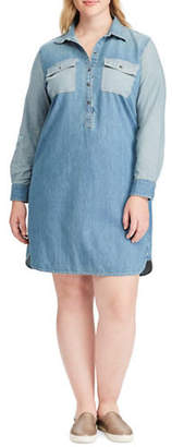 Chaps Plus Two-Tone Denim Shirt Dress