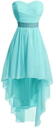 Vweil Strapless Chiffon Bridesmaid Dress High Low Homecoming Prom Gowns for Juniors US