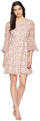 Donna Morgan Printed Chiffon Fit and Flare with Bell Sleeve Women's Dress