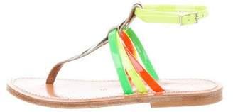 K Jacques St Tropez Patent Leather Ponyhair-Accented Sandals