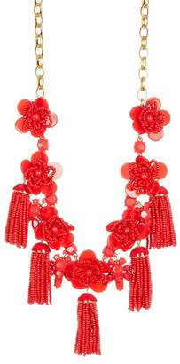 J.Crew J. Crew Beaded Tassel Flower Statement Necklace