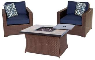 Hanover 3-Piece Chat Set With Lp Gas Fire Pit Table, Navy Blue