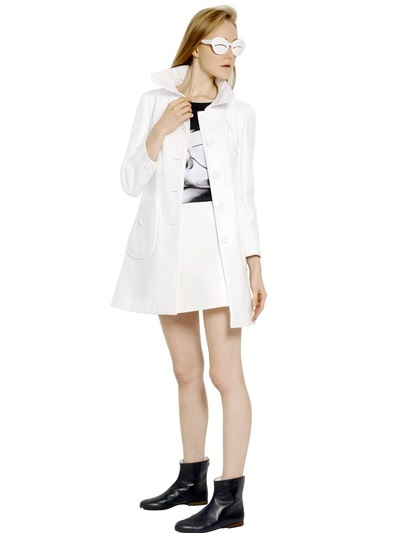 Courreges Bonded Cotton Vinyl Trench Coat