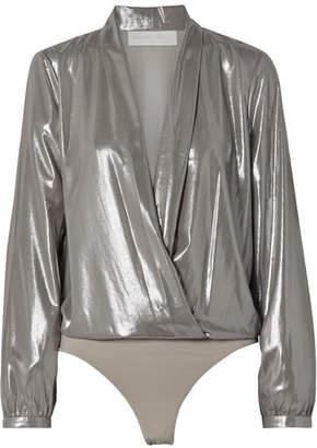 Michelle Mason Draped Lamé Thong Bodysuit - Silver