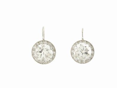 Andrea Fohrman Lauren Earrings in White Gold with Crystal Quartz and Diamonds