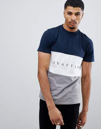 New Look t-shirt with Seattle embrodiery in gray
