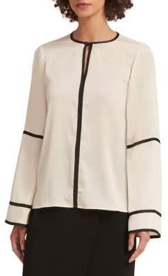 Donna Karan Contrast Trimmed Long-Sleeve Blouse