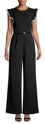 Calvin Klein Flutter-Sleeve Wide-Leg Jumpsuit