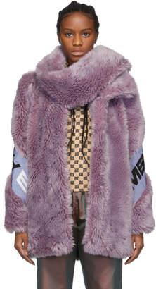Misbhv Purple Faux-Fur Europa Coat