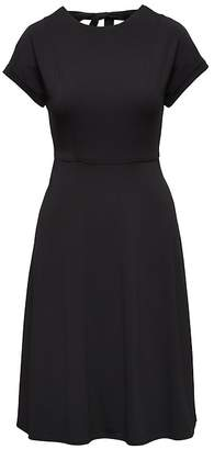 Banana Republic Soft Ponte Tie-Back Fit-and-Flare Dress