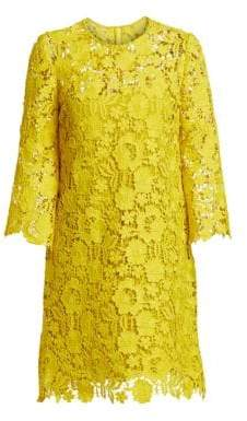 Lela Rose Women's Flutter Sleeve Lace Shift Dress - Citrine - Size 16