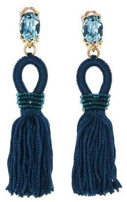 Oscar de la Renta Peacock Short Silk Tassel Earrings