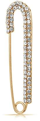 Bling Jewelry Gold Plated Crystal Candy Cane Safety Pin Christmas Brooch