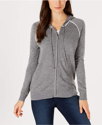 Charter Club Hooded Zip-Front Cardigan