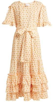 Lisa Marie Fernandez January Cotton Broderie Anglaise Midi Dress - Womens - White Multi
