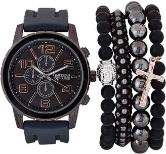 American Exchange MST5585 Rose Gold-Tone & Gunmetal Watch & Bracelet Set