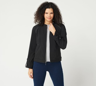 Halston H By H by Zip-Front Bomber Jacket with Drawstring Sleeves