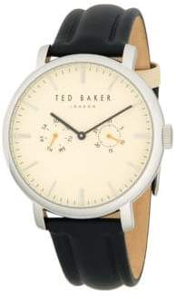Ted Baker Chronograph Stainless Steel & Leather-Strap Watch