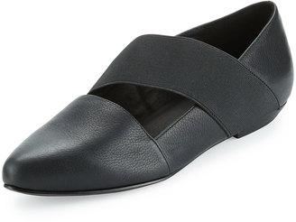 Eileen Fisher Lend Leather Elasticized Flat, Black $149 thestylecure.com