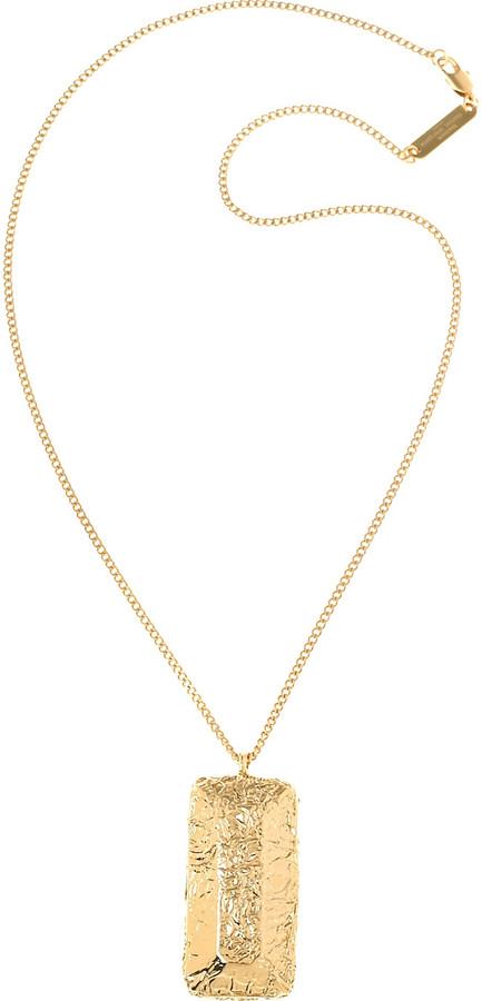 Maison Martin Margiela Crinkled brass pendant necklace