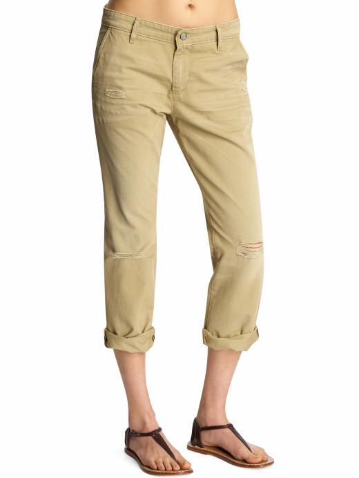 AG Adriano Goldschmied The Ex-Boyfriend Khaki Crop Pant