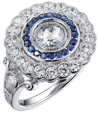 Lafonn Platinum Plated Sterling Silver Simulated Diamond & Created Blue Sapphire Micro Pave Large Round Heritage Ring