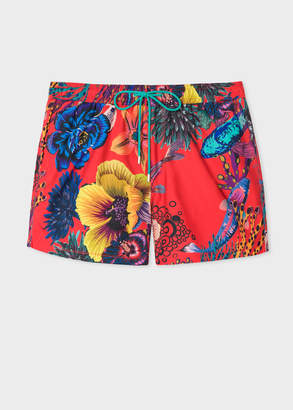 Paul Smith Men's Red 'Ocean' Print Swim Shorts