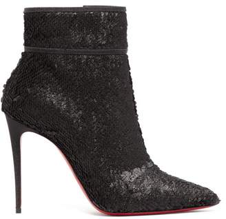 Christian Louboutin Moulakate 100 Sequin Ankle Boots - Womens - Black
