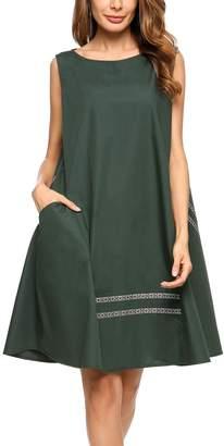 Zeagoo Women Striped Pocket Sleeveless Causal Flared Swing Dresses(,M)