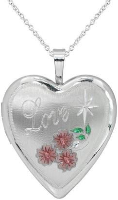 FINE JEWELRY Womens Sterling Silver Heart Locket Necklace