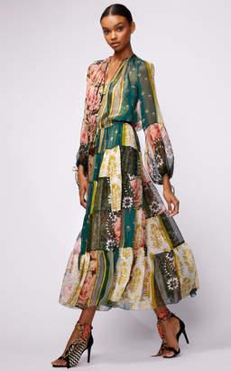 Oscar de la Renta Full Sleeve Floral Patch Printed Maxi Dress