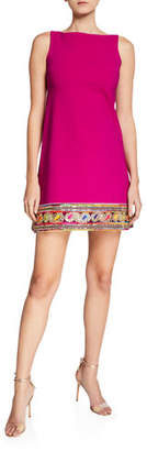 Chiara Boni Giuliana Kinari Bateau-Neck Sleeveless Mini Dress w/ Braided Hem