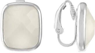 Liz Claiborne White Square Clip On Earrings