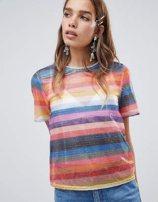 New Look Rainbow Stripe Sequin Tee