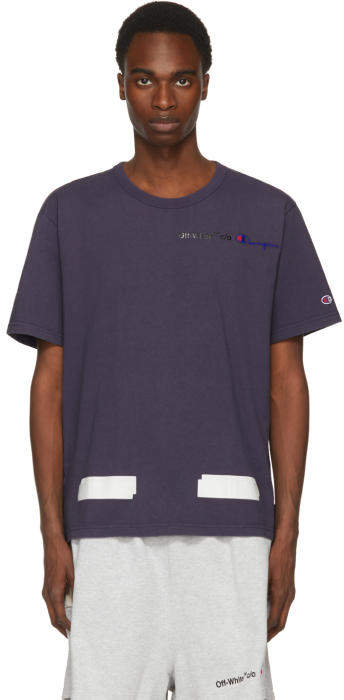 Off-White Navy Champion Reverse Weave Edition T-Shirt