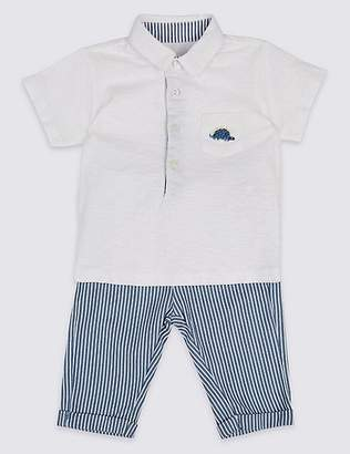 Marks and Spencer 2 Piece Pure Cotton Polo Shirt & Trousers Outfit