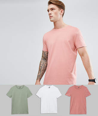 Asos Longline T-Shirt With Crew Neck 3 Pack SAVE