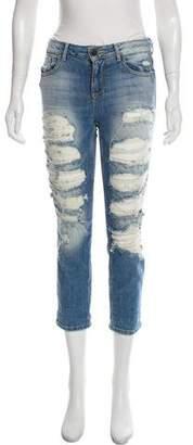 Alice + Olivia Distressed Mid-Rise Straight-Leg Jeans