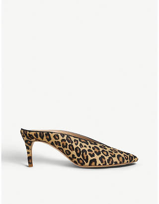 LK Bennett Celia leopard-print suede backless courts