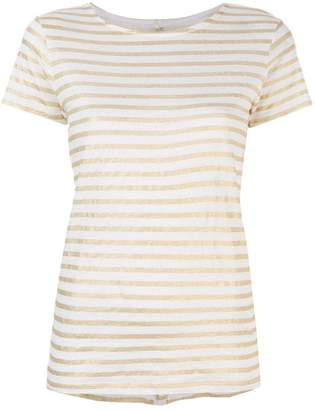 Majestic Filatures striped button back T-shirt