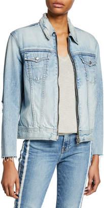 Rag & Bone Oversized Zip-Front Denim Jacket