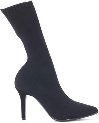 Via Roma 15 Black Stretch Fabric Ankle Boot