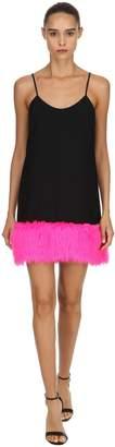 Jeremy Scott Crepe & Faux Fur Dress