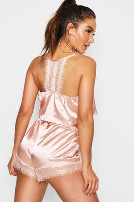 boohoo Lace Racer Back Satin Cami & Short Set