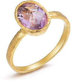 HBC PIARA Genuine Brazil Amethyst Sterling Silver and 18K Yellow Goldplated Oval Solitaire Ring
