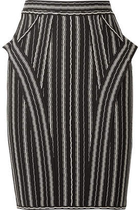 Herve Leger Striped Bandage Mini Skirt - Black