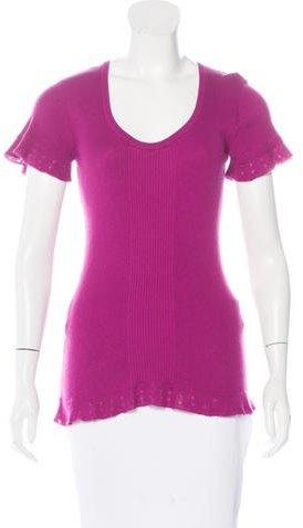 Diane von Furstenberg Short Sleeve Rib Knit Top